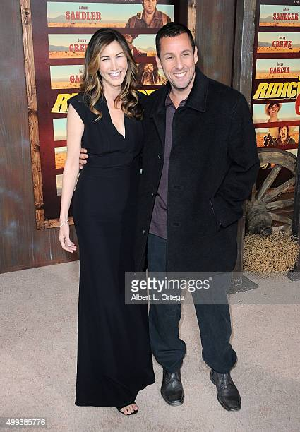 Actor Adam Sandler and wife jackie arrive for the premiere of Netflix's The Ridiculous 6 held at AMC Universal City Walk on November 30 2015 in...