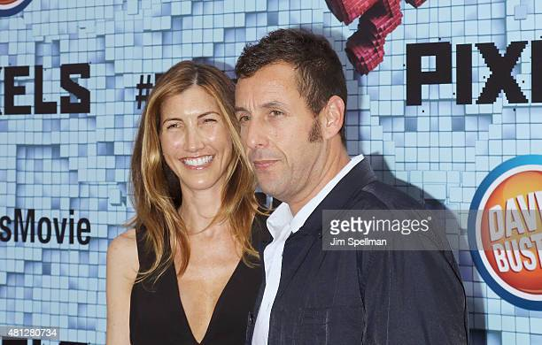 Actor Adam Sandler and wife Jackie Sandler attend the Pixels New York premiere at Regal EWalk on July 18 2015 in New York City