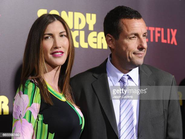 Actor Adam Sandler and wife Jackie Sandler attend the premiere of Sandy Wexler at ArcLight Cinemas Cinerama Dome on April 6 2017 in Hollywood...