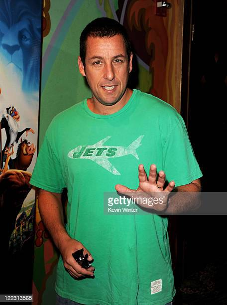 Actor Adam Sandler arrives at the premiere of Walt Disney Studios' 'The Lion King 3D' at the El Capitan Theater on August 27 2011 in Los Angeles...
