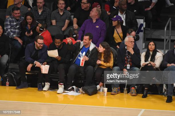 Actor Adam Sandler is seen during the game San Antonio Spurs and Los Angeles Lakers on December 5 2018 at STAPLES Center in Los Angeles California...