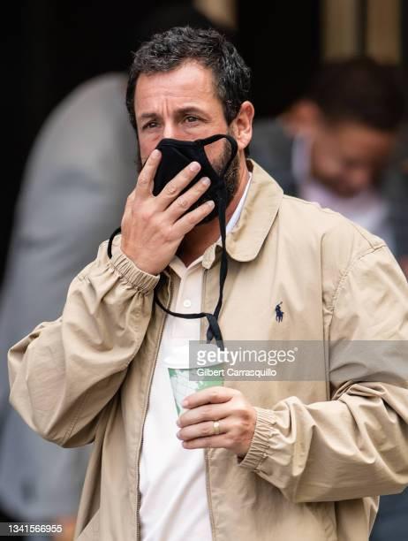 "Actor Adam Sandler is seen filming scenes on the set of Netflix feature film, ""Hustle"" on September 20, 2021 in Philadelphia, Pennsylvania."