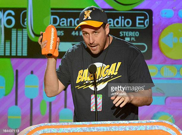 Actor Adam Sandler onstage at Nickelodeon's 26th Annual Kids' Choice Awards at USC Galen Center on March 23 2013 in Los Angeles California