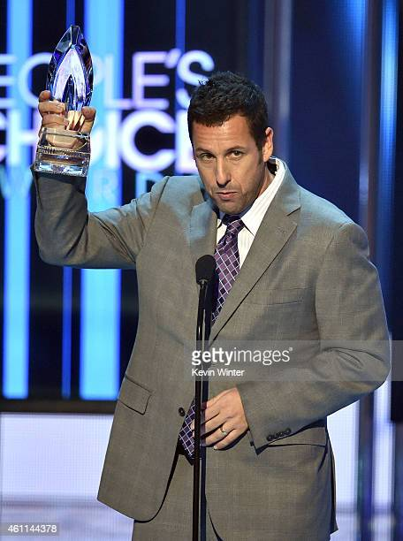 Actor Adam Sandler speaks onstage at The 41st Annual People's Choice Awards at Nokia Theatre LA Live on January 7 2015 in Los Angeles California