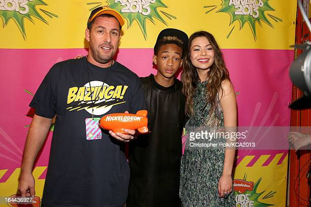 Actor Adam Sandler winnder of the Kids' Choice Award for Favorite Voice from an Animated Movie actor/rapper Jaden Smith and actress Miranda Cosgrove...
