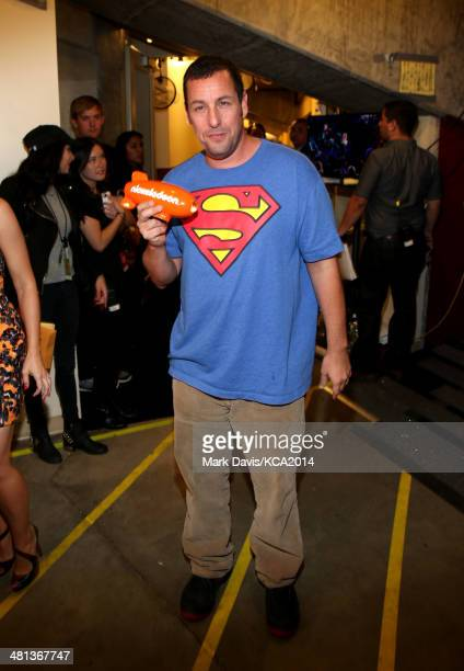 Actor Adam Sandler winner of Favorite Movie Actor backstage during Nickelodeon's 27th Annual Kids' Choice Awards held at USC Galen Center on March 29...