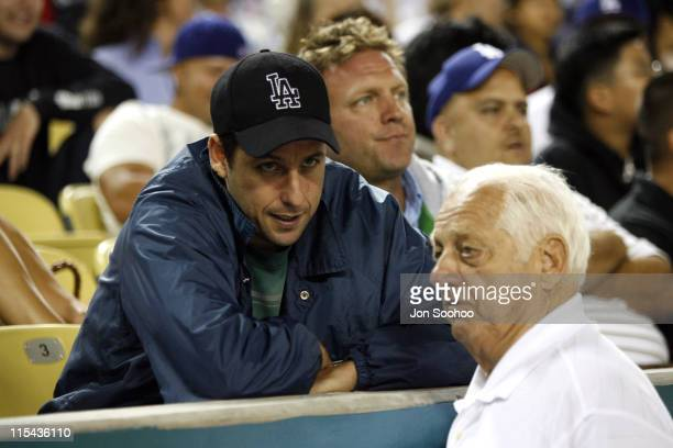 Actor Adam Sandler with Los Angeles Dodgers Hall of Fame Manager Tom Lasorda game against the Philadelphia Phillies on Thursday June 1 2006 at Dodger...