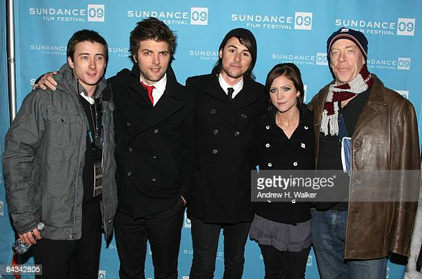 Actor Adam Scott actor Alex Frost director Lee Toland Krieger actress Brittany Snow and actor JK Simmons attend the screening of 'The Vicious Kind'...