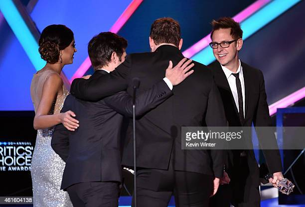 Actor Adam Scott actor Chris Pratt and writer/director James Gunn onstage during the 20th annual Critics' Choice Movie Awards at the Hollywood...
