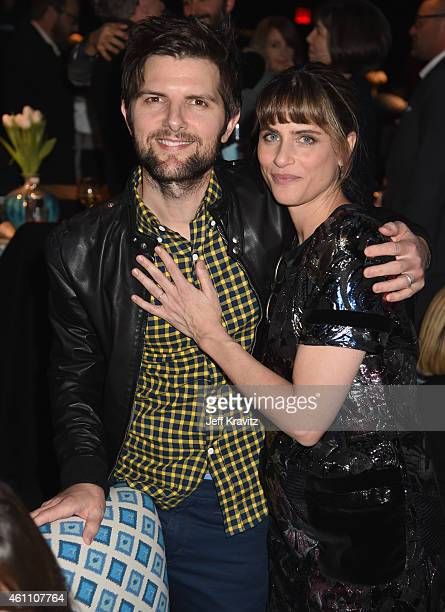 Actor Adam Scott and actress Amanda Peet attend HBO's 'Togetherness' Los Angeles Premiere And After Party at Avalon on January 6 2015 in Hollywood...