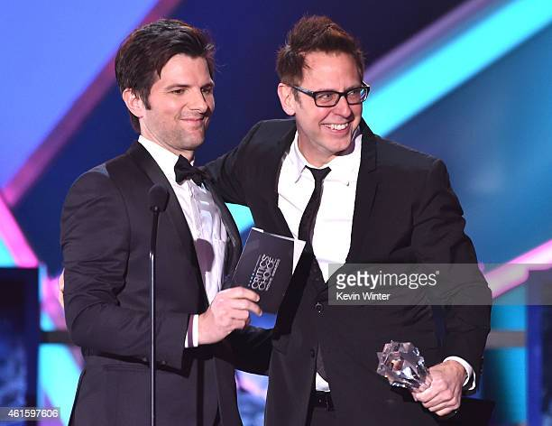 Actor Adam Scott and director/writer James Gunn onstage during the 20th annual Critics' Choice Movie Awards at the Hollywood Palladium on January 15...