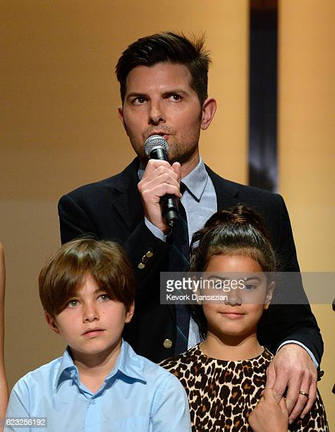 Actor Adam Scott and his children Graham Scott and Frankie Scott speak onstage during Glamour Women Of The Year 2016 at NeueHouse Hollywood on...