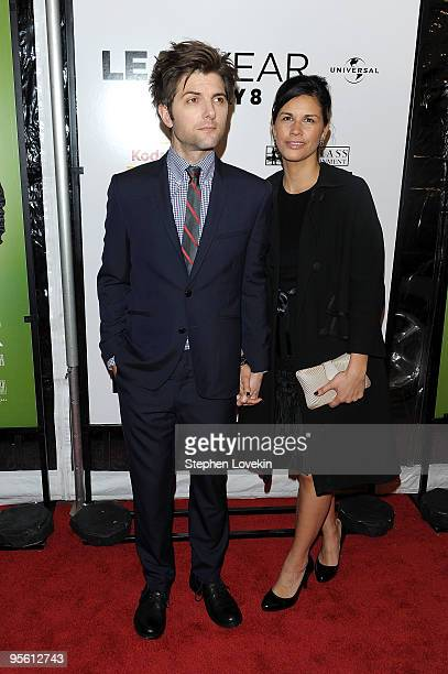 Actor Adam Scott and Naomi Sablan attend the premiere of Leap Year at Directors Guild Theatre on January 6 2010 in New York City