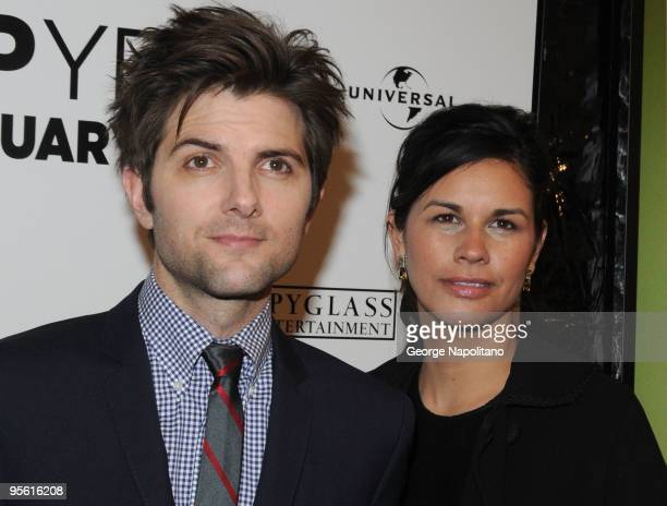 Actor Adam Scott and Naomi Sablan attend the premiere of Leap Year at the Directors Guild Theatre on January 6 2010 in New York City