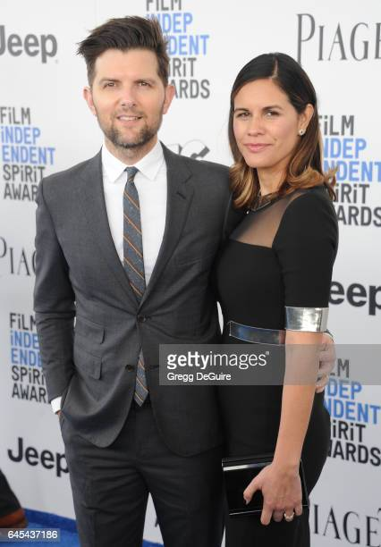 Actor Adam Scott and Naomi Scott arrive at the 2017 Film Independent Spirit Awards on February 25 2017 in Santa Monica California