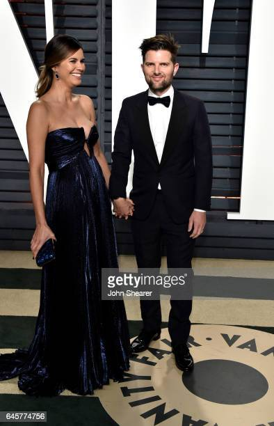 Actor Adam Scott and Naomi Scott attend the 2017 Vanity Fair Oscar Party hosted by Graydon Carter at Wallis Annenberg Center for the Performing Arts...