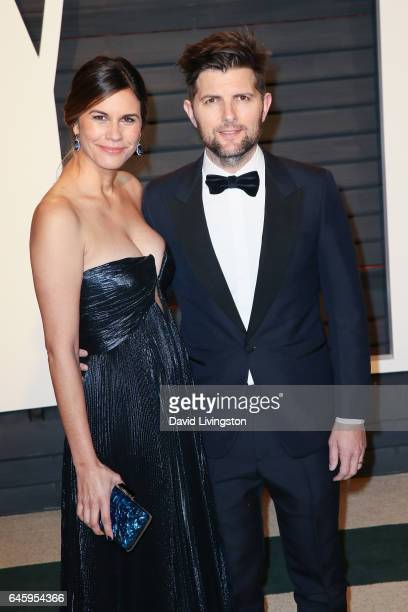 Actor Adam Scott and Naomi Scott attend the 2017 Vanity Fair Oscar Party hosted by Graydon Carter at the Wallis Annenberg Center for the Performing...