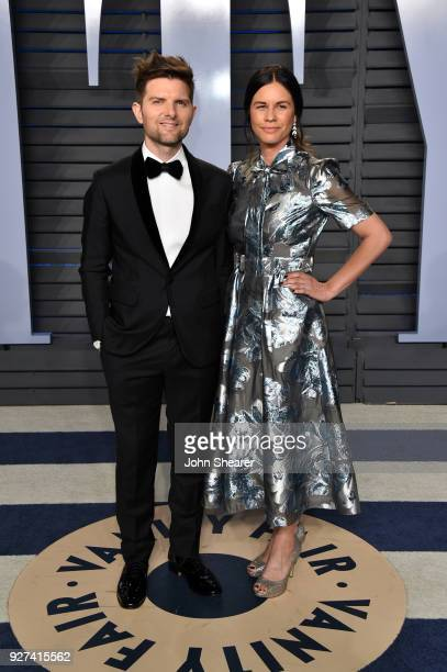 Actor Adam Scott and Naomi Scott attend the 2018 Vanity Fair Oscar Party hosted by Radhika Jones at Wallis Annenberg Center for the Performing Arts...