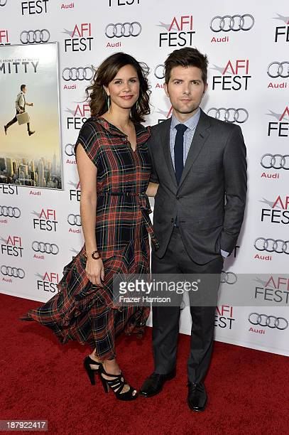 Actor Adam Scott and Naomi Scott attend the premiere of 'The Secret Life of Walter Mitty' during AFI FEST 2013 presented by Audi at TCL Chinese...