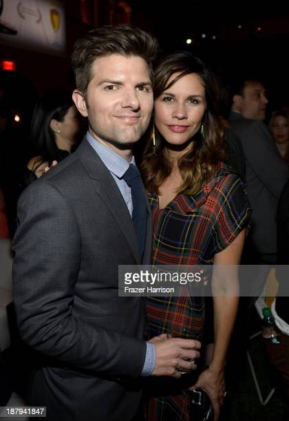 Actor Adam Scott and Naomi Scott attend the premiere of 'The Secret Life of Walter Mitty' after party during AFI FEST 2013 presented by Audi at The...