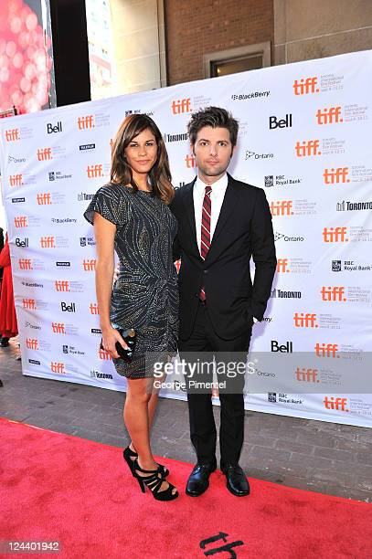 Actor Adam Scott and wife Naomi Sablan arrive at Friends With Kids Premiere at Ryerson Theatre during the 2011 Toronto International Film Festival on...