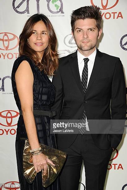 Actor Adam Scott and wife Naomi Sablan attend the 2012 Environmental Media Awards at Warner Bros Studios on September 29 2012 in Burbank California