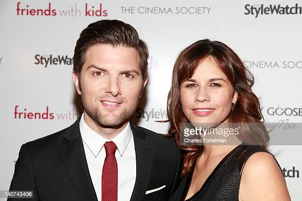 Actor Adam Scott and wife Naomi Sablan attend the Cinema Society People StyleWatch with Grey Goose screening of Friends With Kids at the SVA Theater...