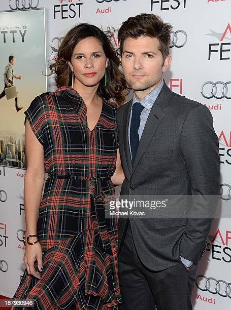 Actor Adam Scott and wife Naomi Sablan attend the 'The Secret Life Of Walter Mitty' premiere during AFI FEST 2013 presented by Audi at TCL Chinese...