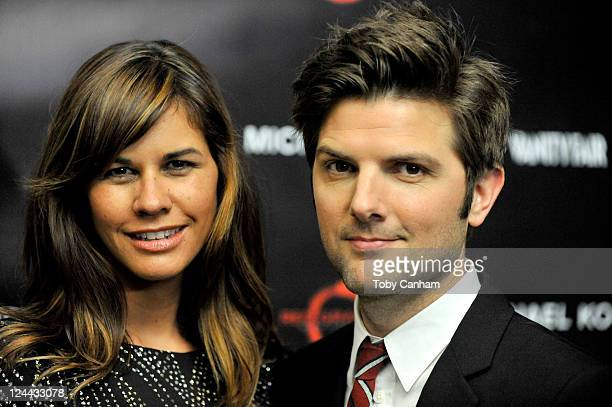 Actor Adam Scott and wife Naomi Sablan attend Toast The Cast Of Friends With Kids reception hosted by Michael Kors Vanity Fair's Krista Smith and Red...