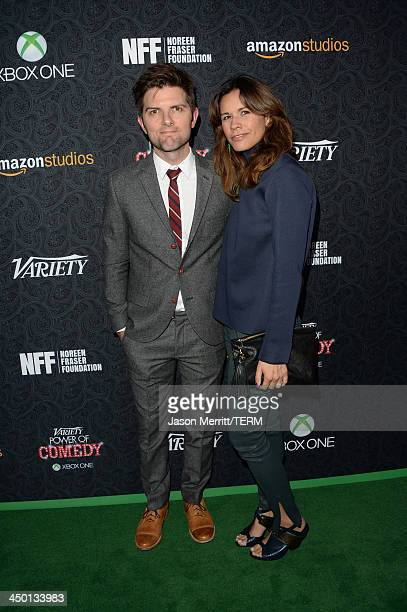Actor Adam Scott and wife Naomi Sablan attend Variety's 4th Annual Power of Comedy presented by Xbox One benefiting the Noreen Fraser Foundation at...