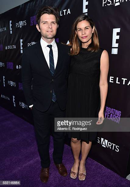 Actor Adam Scott and wife Naomi Scott attend PS Arts' The pARTy at NeueHouse Hollywood on May 20 2016 in Los Angeles California