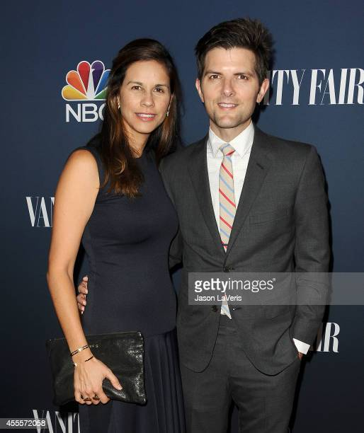 Actor Adam Scott and wife Naomi Scott attends the NBC Vanity Fair 2014 2015 TV season event at HYDE Sunset Kitchen Cocktails on September 16 2014 in...