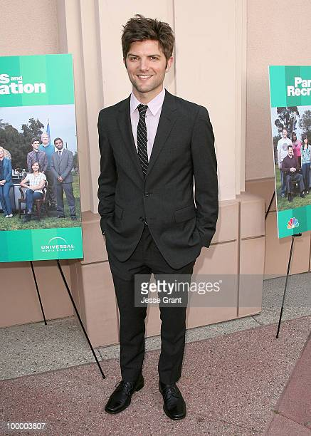 Actor Adam Scott arrives at the 'Parks And Recreation' Emmy Screening at the Leonard H Goldenson Theatre on May 19 2010 in Los Angeles California