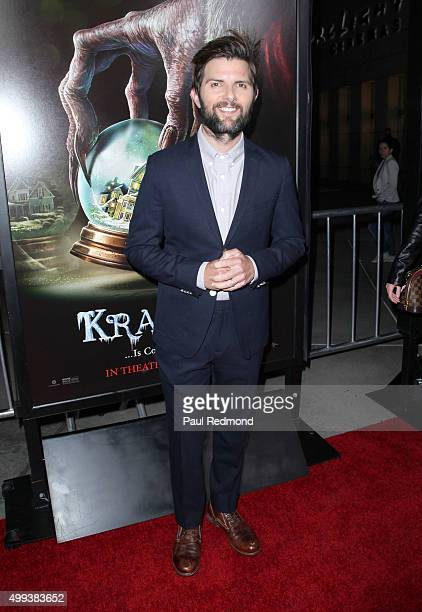 Actor Adam Scott arrives at the screening of Universal Pictures' 'Krampus' at ArcLight Cinemas on November 30 2015 in Hollywood California