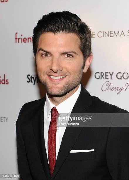 Actor Adam Scott attends the Cinema Society People StyleWatch with Grey Goose screening of Friends With Kids at the SVA Theater on March 5 2012 in...