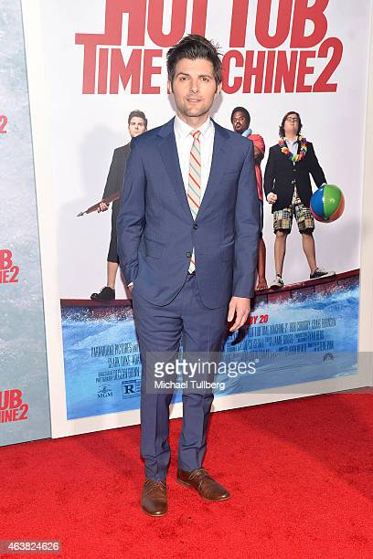Actor Adam Scott attends the premiere of Paramount Pictures' Hot Tub Time Machine 2 at Regency Village Theatre on February 18 2015 in Westwood...