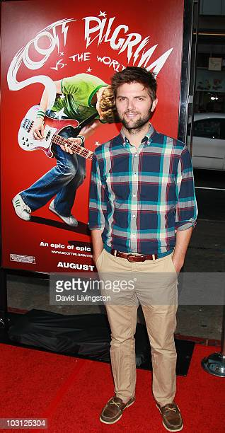 Actor Adam Scott attends the premiere of Universal Pictures' Scott Pilgrim vs the World at Grauman's Chinese Theatre on July 27 2010 in Hollywood...