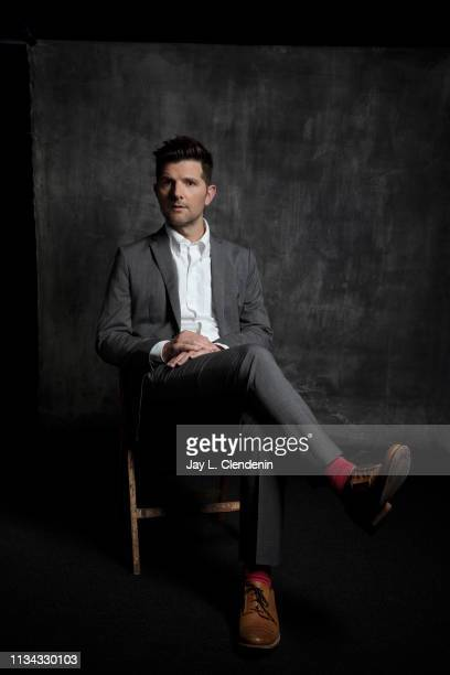 Actor Adam Scott from 'The Twilight Zone' is photographed for Los Angeles Times on March 24 2019 during PaleyFest at the Dolby Theatre in Hollywood...