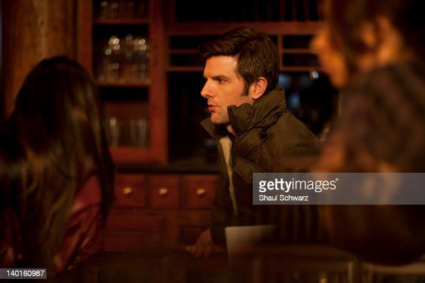 Actor Adam Scott is photographed on the set of 'Friends with Kids' for Lifecom on February 17 2011 in the Bronx New York