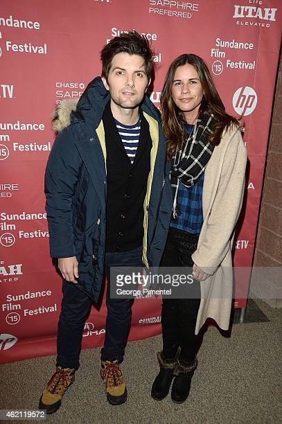 Actor Adam Scott Naomi Scott attend the 'Sleeping With Other People' premiere during the 2015 Sundance Film Festival on January 24 2015 in Park City...