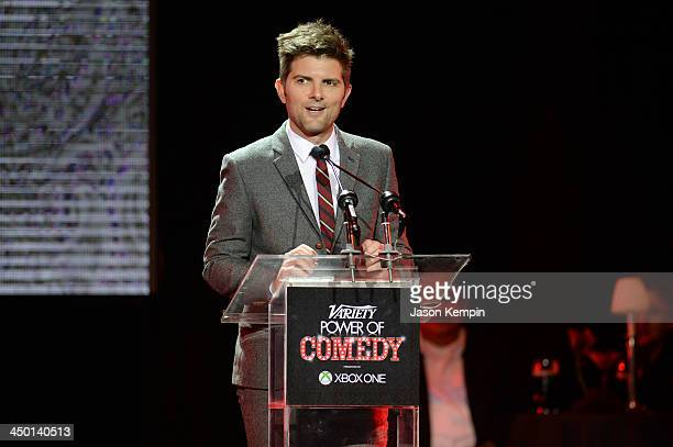 Actor Adam Scott speaks onstage during Variety's 4th Annual Power of Comedy presented by Xbox One benefiting the Noreen Fraser Foundation at Avalon...