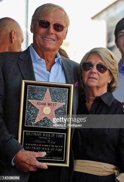 Actor Adam West and wife Marcelle Lear attend a ceremony honoring Adam West with the 2468th Star on the Hollywood Walk of Fame on April 5 2012 in...