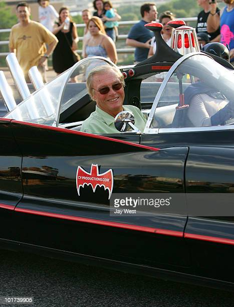 Actor Adam West arrives in the Batmobile for Night Of The Bat Celebration with Adam West on June 6 2010 in Austin Texas