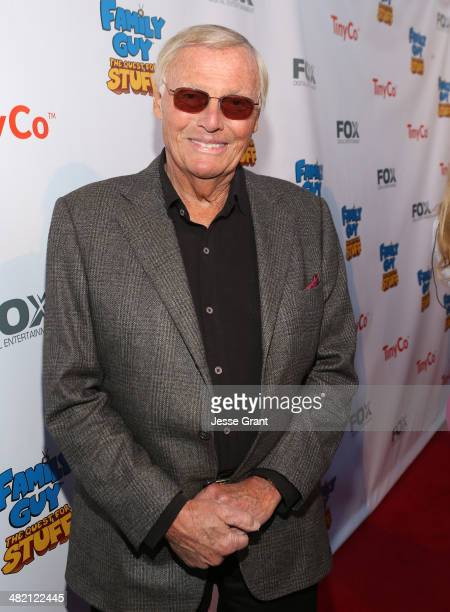 Actor Adam West attends the FAMILY GUY The Quest For Stuff Los Angeles Premiere Party at The Happy Ending Bar Restaurant on April 2 2014 in Hollywood...