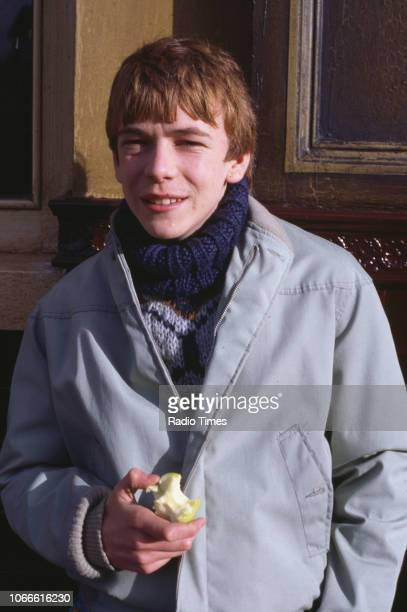 Actor Adam Woodyatt pictured on the exterior set of the BBC soap opera 'EastEnders' April 5th 1991