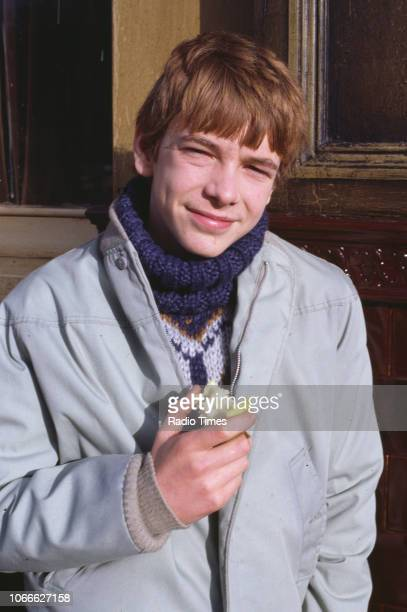 Actor Adam Woodyatt pictured on the exterior set of the BBC soap opera 'EastEnders' November 21st 1984