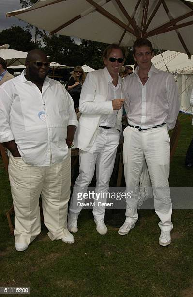 Actor Ade Designer David Collins and Ben Elliot attend Cartier International Day held at Guards Polo Club Windsor Great Park on July 25 2004 in...