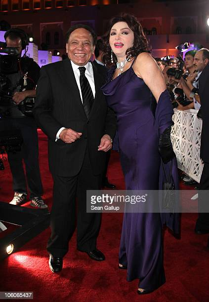 Actor Adel Imam and Nabila Obaid attend the Opening Night Gala during the 2010 Doha Tribeca Film Festival held at the Katara Opera House on October...