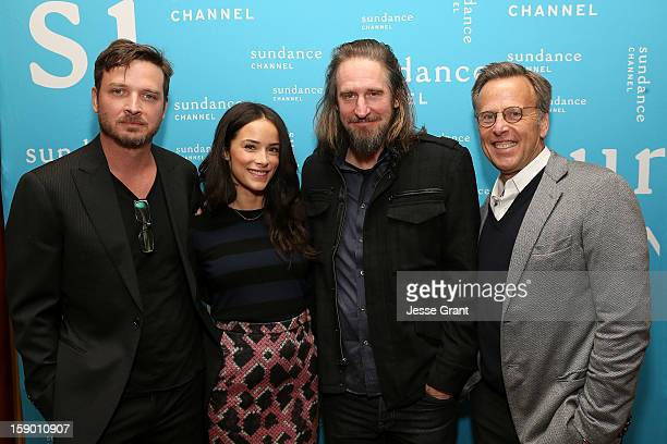 Actor Aden Young actress Abigail Spencer creator/writer Raymond McKinnon and executive producer Mark Johnson attend the Sundance Channel 2013 Winter...
