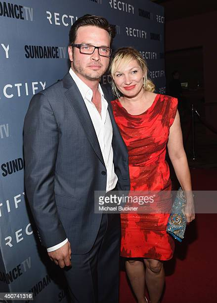 Actor Aden Young and actress Lo Carmen arrives at the premiere of SundanceTV's 'Rectify' Season Two at Sundance Sunset Cinema on June 16 2014 in Los...